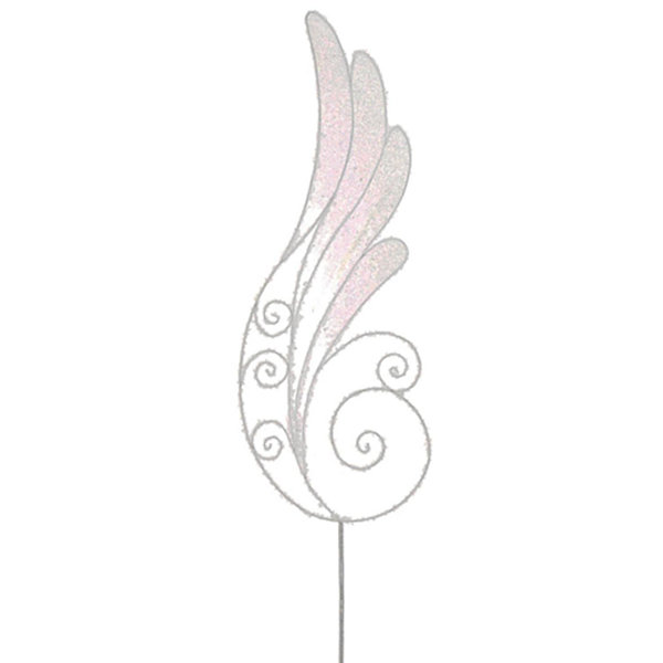 "24"" Iridescent Glittered Angel Wing Craft Pick"""