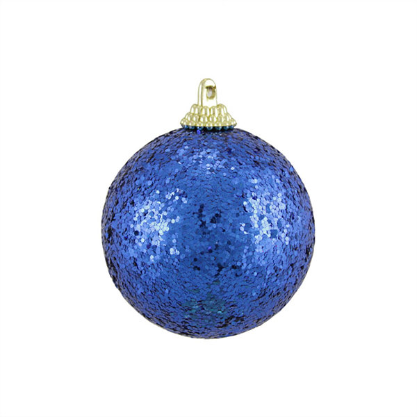 "24ct Blue Shatterproof Sequin Finish Christmas Ball Ornaments 2.5"" (60mm)"