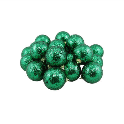 """24ct Green Shatterproof Sequin Finish Christmas Ball Ornaments 2.5"""" (60mm)"""