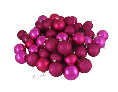 "24ct Pink Magenta Shatterproof 4-Finish Christmas Ball Ornaments 2.5"" (60mm)"