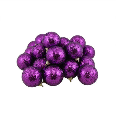 "24ct Purple Shatterproof Sequin Finish Christmas Ball Ornaments 2.5"" (60mm)"""