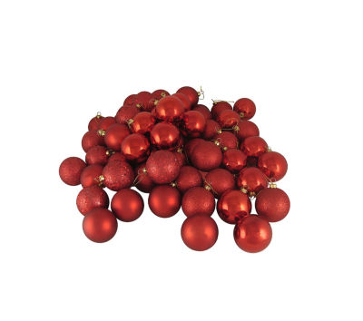 """24ct Red Hot 4-Finish Shatterproof Christmas Ball Ornaments 2.5"""" (60mm)"""