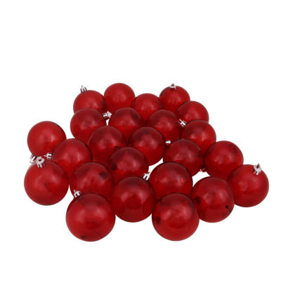 """24ct Red Transparent Shatterproof Christmas Ball Ornaments 2.5"""" (60mm)"""""""