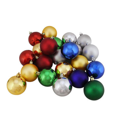 """24ct Shatterproof Traditional Multi-Color Shiny & Matte Christmas Ball Ornaments 2.5"""" (60mm)"""