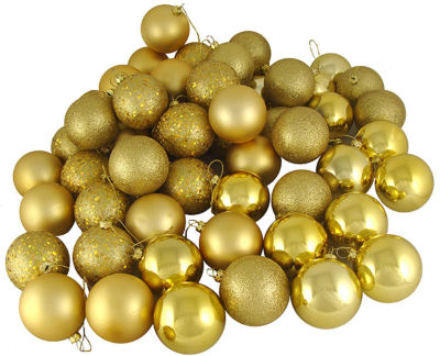 "24ct Vegas Gold Shatterproof 4-Finish Christmas Ball Ornaments 2.5"" (60mm)"""