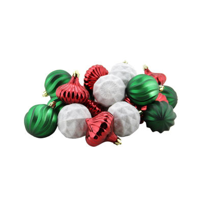 "26ct Red  Green and White 3-Finish Shatterproof Christmas Ornaments 2.5"" (60mm)"""