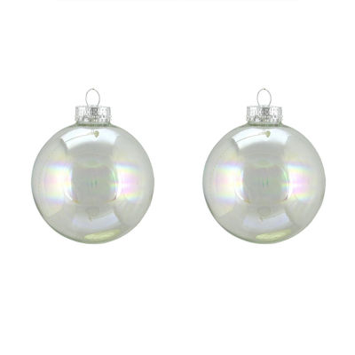 """2ct Clear Iridescent Glass Ball Christmas Ornaments 4"""" (100mm)"""""""