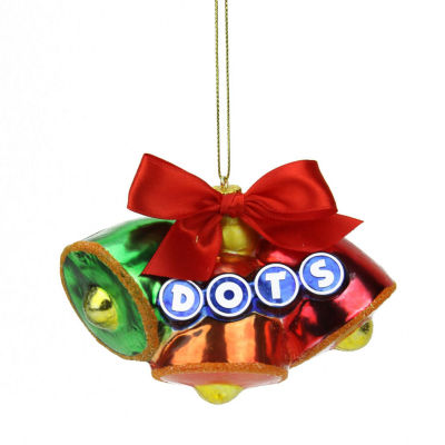 "3"" Candy Lane Tootsie Roll Dots Original Gumdrop Candies Triple Bell Glass Christmas Ornament"""