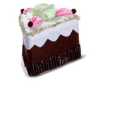 "3"" Cupcake Heaven Sliced Chocolate Cake with Flower Christmas Ornament"""