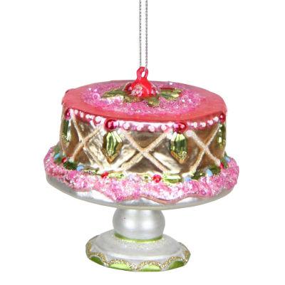 """3"""" Dessert Delight Glass Cake On Serving Plate Christmas Ornament"""""""