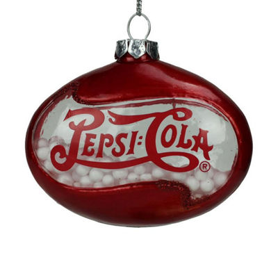 "3"" Red Pepsi Cola Disc Shaped Snow Filled  Decorative Glass Christmas Ornament"