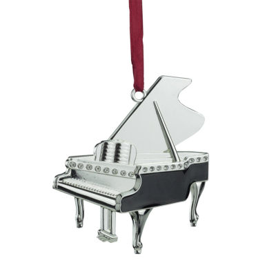 """3"""" Regal Shiny Silver-Plated and Black Grand PianoOrnament with European Crystals"""""""