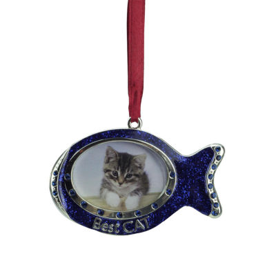 "3"" Regal Shiny Silver-Plated Blue ""Best Cat"" Fish Picture Ornament with European Crystals"""
