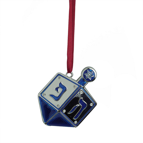 "3"" Regal Shiny Silver-Plated Blue Dreidel HanukkahHoliday Ornament with European Crystals"""