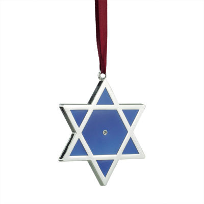 "3"" Regal Shiny Silver-Plated Blue Star of David Hanukkah Holiday Ornament with European Crystal"""