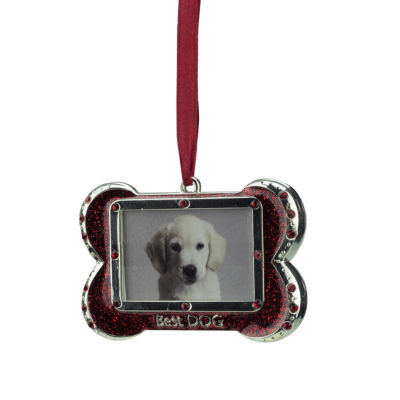 "3"" Regal Shiny Silver-Plated Red ""Best DOG"" Bone Picture Ornament with European Crystals"""