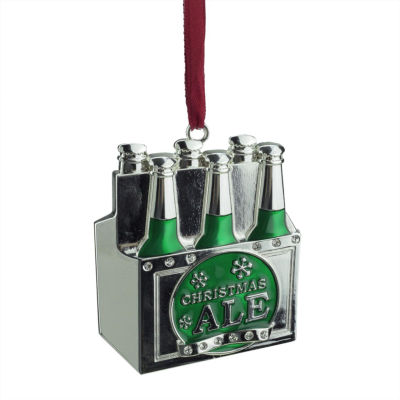 "3"" Regal Silver-Plated Green 6-Pack of Christmas Ale Ornament with European Crystals"