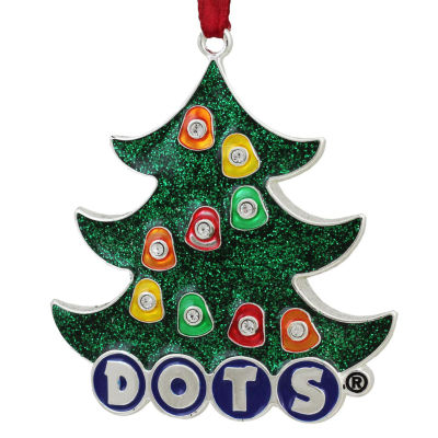 "3"" Silver Plated Dots Candy Logo Christmas Tree Ornament with European Crystals"""