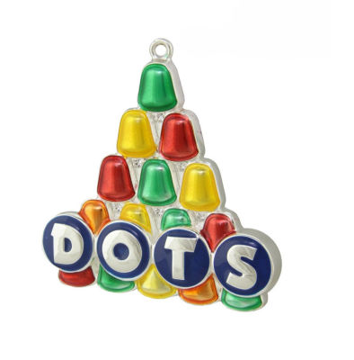 """3"""" Silver Plated Dots Candy Logo Mulit- Colored Christmas Tree Ornament with European Crystals"""