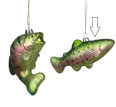 "3"" Under the Sea Glittered Metallic Green SpottedFish Glass Christmas ornament"""