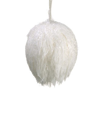 "3.25"" Glittered Fuzzy White Snowball Christmas Ornament"""