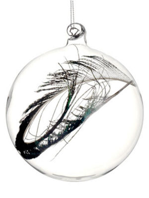 """3.25"""" Regal Peacock Clear Glass Christmas Ball Ornament with Faux Feather"""