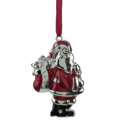 """3.25"""" Regal Shiny Silver and Red Plated Santa Claus Ornament with European Crystals"""""""