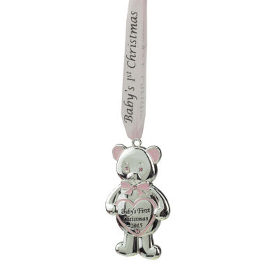 """3.25"""" Regal Silver and Pink """"Baby's First Christmas 2015"""" Bear Ornament w/ European Crystals"""