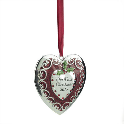 """3.25"""" Regal Silver and Red """"Our First Christmas 2015"""" Heart Ornament w/ European Crystals"""