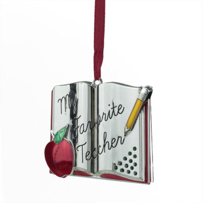 """3.25"""" Regal Silver-Plated """"My Favorite Teacher"""" Holiday Ornament with European Crystal"""""""