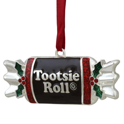 "3.25"" Silver Plated Tootsie Roll Candy Shaped Logo Christmas Ornament with European Crystals"""