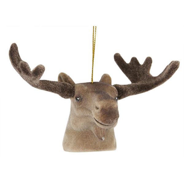 "3.5"" Brown Moose Head with Large Antlers Christmas Ornament"""