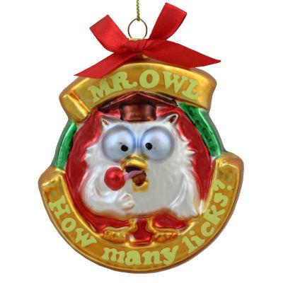 "3.5"" Candy Lane Tootsie Roll Pop Original Candy-Filled Lollipop ""Mr. Owl"" Glass Christmas Ornament"""