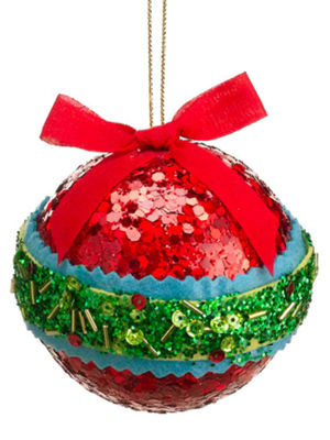 "3.5"" Christmas Brites Red  Green and Blue Sequin and Bead Ball Ornament with Bow"