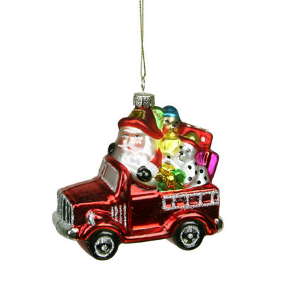 "3.5"" Glass Santa in Fire Truck Decorative Christmas Ornament"""