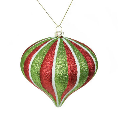 """3.5"""" Merry & Bright Red  White and Green Glitter Stripe Shatterproof Christmas Onion Ornament"""""""