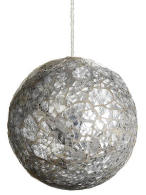 "3.5"" Mirror Mosaic Beaded Glass Ball Christmas Ornament"""