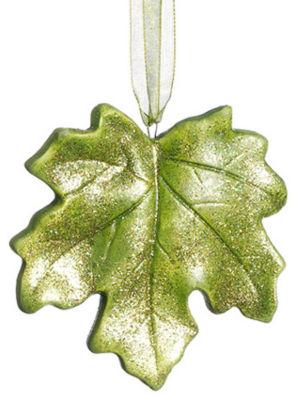 "3.5"" Princess Garden Green Maple Leaf Glitter Christmas Ornament"""