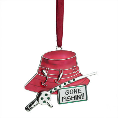 """3.5"""" Regal Silver-Plated Red Fishing Holiday Ornament with European Crystals"""""""