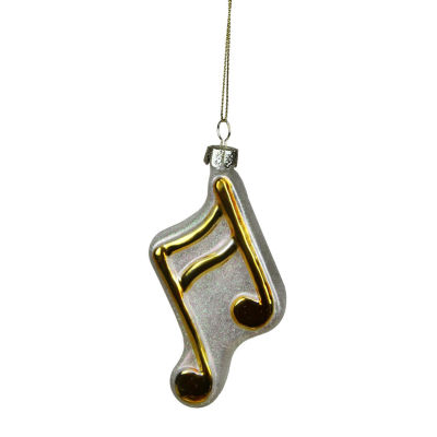 "3.5"" Shiny Gold and Glittered White Sixteenth Symbol Music Note Glass Christmas Ornament"