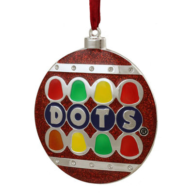 "3.5"" Silver Plated Dots Candy Logo Christmas Ornament with European Crystals"""