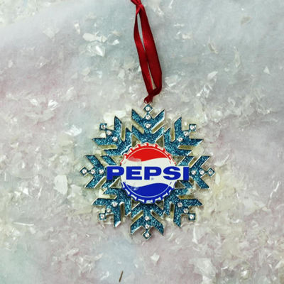 "3.5"" Silver Plated Pepsi Logo Snowflake ChristmasOrnament with European Crystals"""