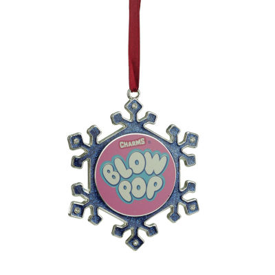 "3.5"" Silver Plated Snowflake Blow Pop Candy Logo Christmas Ornament with European Crystals"""