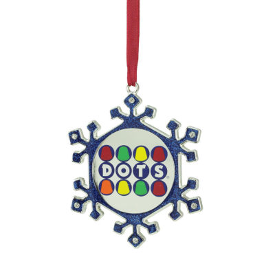 "3.5"" Silver Plated Snowflake Dots Candy Logo Christmas Ornament with European Crystals"""