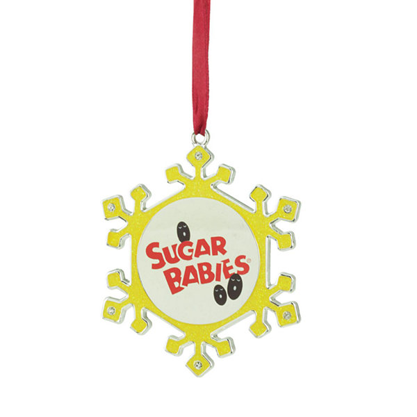 "3.5"" Silver Plated Snowflake Sugar Babies Candy Logo Christmas Ornament with European Crystals"""
