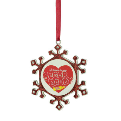 "3.5"" Silver Plated Snowflake Sugar Daddy Candy Logo Christmas Ornament with European Crystals"""
