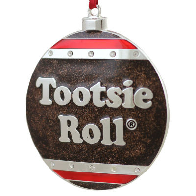 "3.5"" Silver Plated Tootsie Roll Candy Logo Christmas Ornament with European Crystals"""
