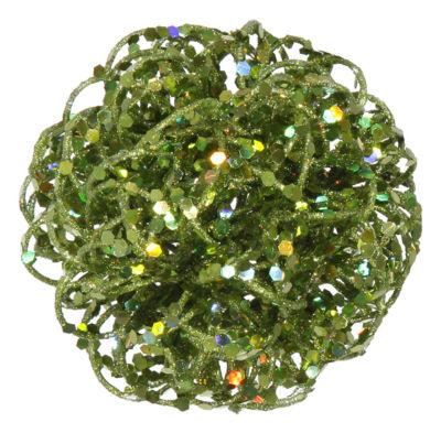 "3.5"" Sparkling Green Kiwi Curly Ball Christmas Ornament"""