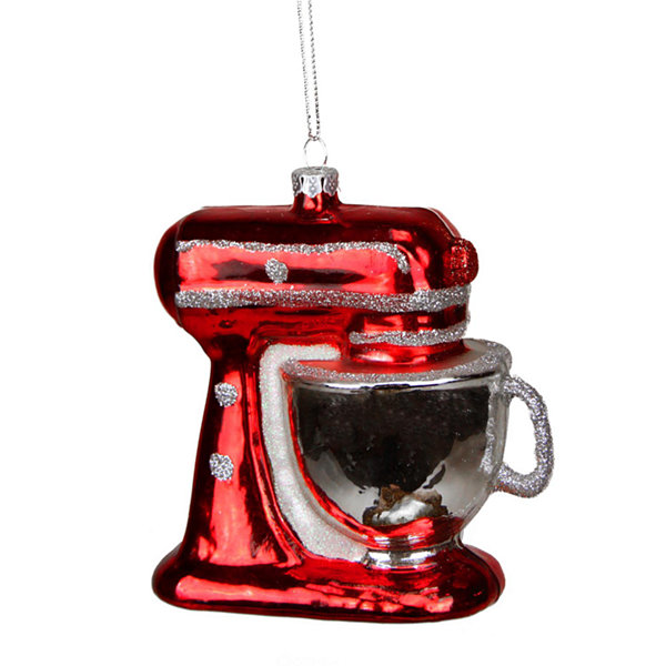 "3.75"" Red and Silver Glittered Kitchen Mixer Appliance Christmas Ornament"""