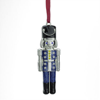 "3.75"" Regal Shiny Silver Plated Blue Nutcracker Ornament with European Crystals"""